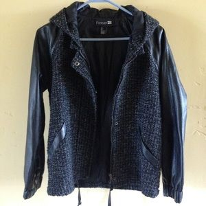 Black Leather Hooded Raglan Baseball Bomber Jacket